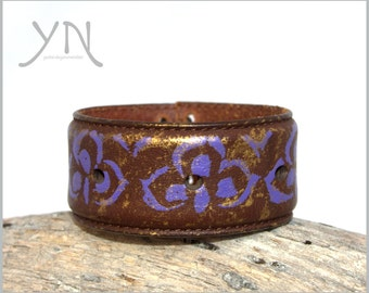 Unique Bangle Bracelet | Women's Leather Cuff | Upcycled Leather Belt Bracelet | For Women | Earth Friendly Leather Accessories | Purple