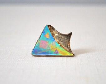 Vintage Sterling Silver Modernist Geometric Brooch - Signed