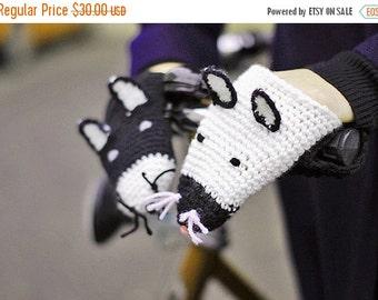 Bike gloves, bike mittens,Yin-Yang CATS Bike Handwarmers Wool Crochet Cold Days Unisex Woman Man Teens Gift Black White Hallo