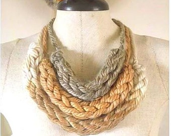 Natural Dyed Knit Wear, Wooly Bulky Necklace