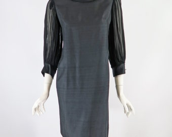 60s Little Black Dress | Sheer Sleeves Roll Neck Shift Dress  - med