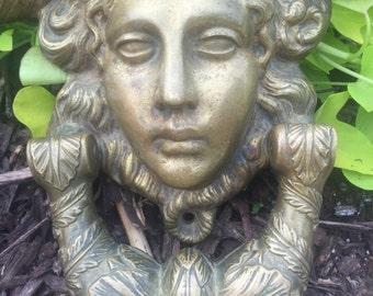 Antique  Brass Door Knocker Angel Door Knocker Garden Statue Garden display