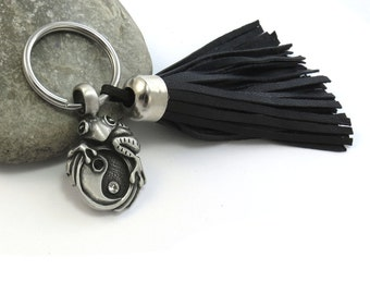 Yin Yang Frog Keychain w/ Leather Tassel - Black, Brown or Tan Leather - Zen Frog Keyring