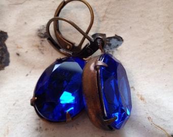 Sapphire Blue Earrings. Vintage Sapphire Rhinestone. September Birthstone. Colbat Blue Earrings. Royal Blue Earrings. European Ear Wire.