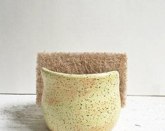 Ceramic Sponge Holder, Handmade Pottery, Yellow