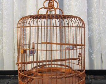 Vintage 80's Chinese bamboo and wood bird cage