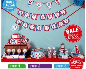 Nautical Birthday Party Package Personalized FULL Collection Set - PRINTABLE DIY - PS826CA1x