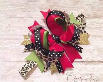 Christmas bow, lepard headband, holiday bow, Christmas hairbow, first Christmas, leopard bow, Christmas bow,  red green gold