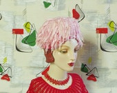 Vintage 1960's Hat , Pink Petal Pearl Cocktail Bubble Toque . Valentine Whimsy . 60's Fairy Fabulous Fantasy . Stuart Original label . Heart