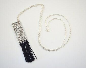 "Sterling Silver Swirl Lace Filigree Silk Fringe Statement Pendant Necklace 26"" / Lost Wax Casting / Handmade Jewelry / Je T'Aimee Jewelry"