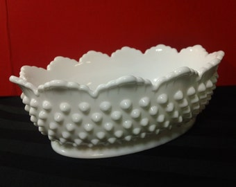 "Vintage Fenton Hobnail pattern Milk Glass 8"" Oval Serving Bowl"