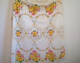 Vintage Tablecloth, White, Pink, Yellow Floral, Cutter Tablecloth, Craft Fabric, Vintage Print Tablecloth
