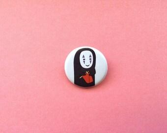 No Face Knitting Pinback Button , Spirited Away Pinback Button , No Face Button , No Face Badge, No Face Pin, Spirited Away - Made to Order