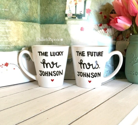 Personalized Mugs Wedding Gift : Personalized mug, Engagement Gift Mug, His and Her mugs, Hand painted ...