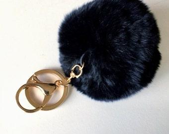 Black Pom Pom Keychain, Fur PomPom Handbag Charm, Crystal Heart Fur Keychain, Crystal Heart PomPom Car Keyring