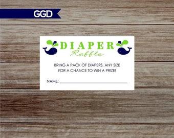 Whales Diaper Raffle Tickets, printable diaper raffle, navy and lime diaper raffle, diaper raffle, twin diaper raffle-Print Your Own-007