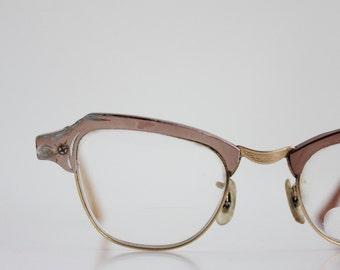 Vintage 50's Damaged 12K Engraved Aluminum Cat Eye Eyeglasses