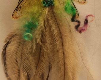 sweet fairy fairie emu  feather tiny  ooak hanger