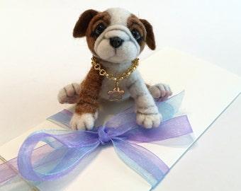 English Bulldog, Needle Felted Dog, Custom Order Only by Marina Lubomirksy