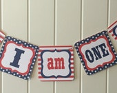 STARS AND STRIPES 4th of July First Birthday I Am One Highchair Banner Red White Blue-Party Packs Available