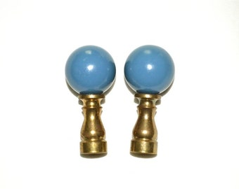 Medium Blue Ball Finials PAIR Vintage Shabby