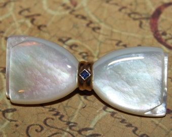 Antique BOW 14K and Mother of Pearl with Blue Sapphire Bow Pin/Brooch