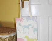 Shopping bag, tote bag, market tote, shopping tote, library bag - cream with horses