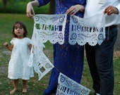 2 Alternating Wedding Banners - Includes Hand-Cut Name(s) and Message or Date - Papel Picado