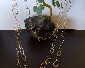 GOLD FILLED long HAMMERED necklace