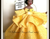 African American, Springtime Yellow Angel, OOAK Porcelain Black Angel Miniature Tree Topper and Home Decor Accent