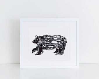 Bear Print / 5x7 Original Illustration Print / Folk Art / Black and White / Black Bear Art