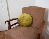 Vintage Velvet Round Throw Pillow / Shimmery Yellow Green