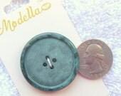 "1 Big Blue Green Button,33 mm,   1+5/16"", Mottled Eucalyptus Green, Matte Top, Shiny Rimmed, Coat Buttons,On Card,4 hole,Modella Brand"