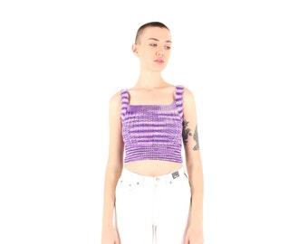 80s Hand Knit Pastel Purple Lavender Crochet Festival Crop Top