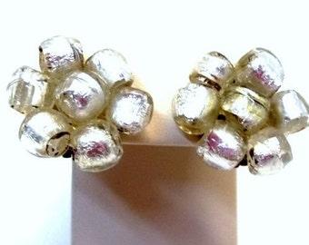 Silver Foil Italian Art Glass Bead Earrings Iridescent Foiled Silver Flower Earrings Murano Venetian Italy Wedding Bridal Earrings DD 1083
