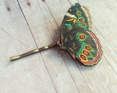 Brown Green Red Butterfly Hair Accessory Pin Barrette Insect Accessories