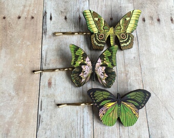 Green Pink Butterfly Hair Accessory Fairy Accessories Barrette