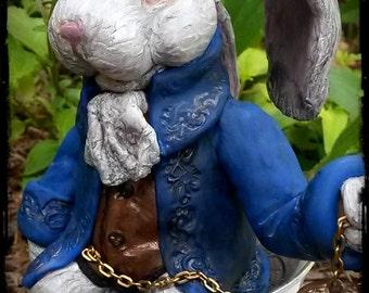 Alice in Wonderland White Rabbit Teacup Sculpture