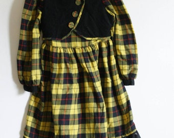 Vintage Girl's Polly Flinders yellow and black plaid dress, size 6