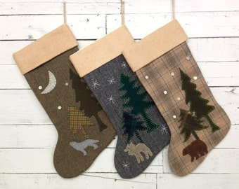 Personalized Christmas Stockings, Rustic Christmas Stocking, Family Stockings,Cabin Stocking,  Bear,Wolf,Moose Stocking,Christmas Decoration