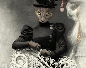 Miss Quigly, Vintage Cat Print, Anthropomorphic Cat, Creepy Cat, Halloween Decor, Whimsical Wall Art, Steam Punk Art, Weird Unusual Art