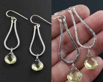 Grade AAA Lemon Quartz Earrings - Hammered Sterling Silver Tear Drop Hoops w. Lemon Quartz Gemstone - Petite Gemstone Earrings