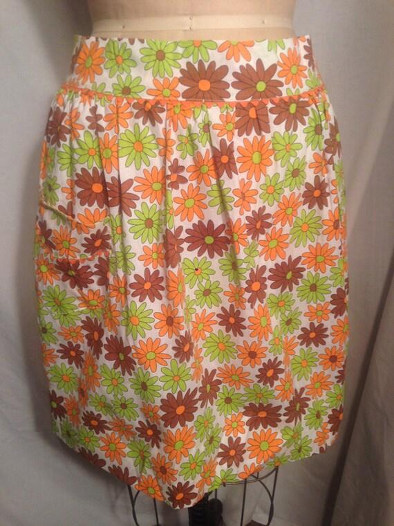 Misses Vintage Floral Neon Half Apron Sm8