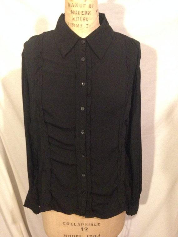 Vintage Long Sleeve Button Up Black Blouse s20