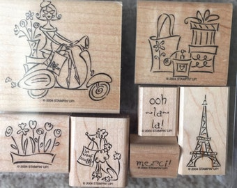 Stampin' Up! Paris in the Spring, set of 7 // Scrapbooking rubber stamps // Rubber stamps for card making / craft rubber stamps / decorative