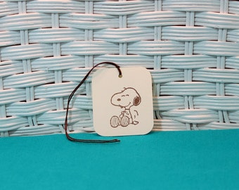 Hand Stamped Set of 8 Snoopy Tags