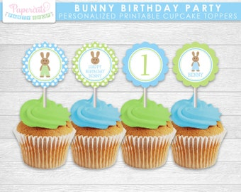 Bunny Rabbit Boy Theme Birthday Party Cupcake Toppers | Blue & Green | Personalized | Printable DIY Digital File