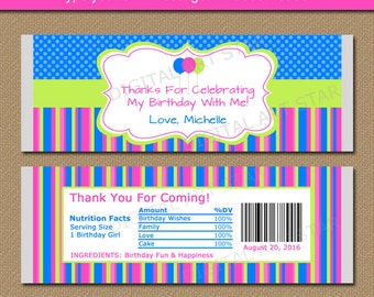 Printable Birthday Candy Bar Wrappers - Editable Girl Birthday Chocolate Bar Wrappers Blue Pink Lime Birthday Party Favors Instant Download