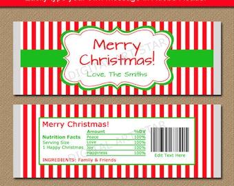 Printable Christmas Chocolate Bar Wrappers - Holiday Candy Wrappers EDITABLE Christmas Candy Labels - Christmas Gift - Stocking Stuffers CSV