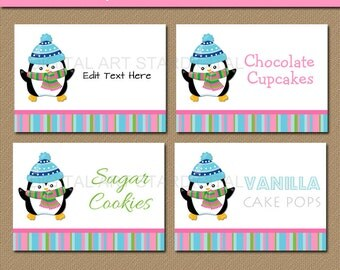 Penguin Labels - Printable Penguin Food Tags - EDITABLE Penguin Buffet Cards, Candy Buffet Labels, Place Cards - Winter Birthday Labels